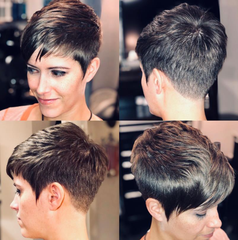 Pixie cut with a Tapered discolor