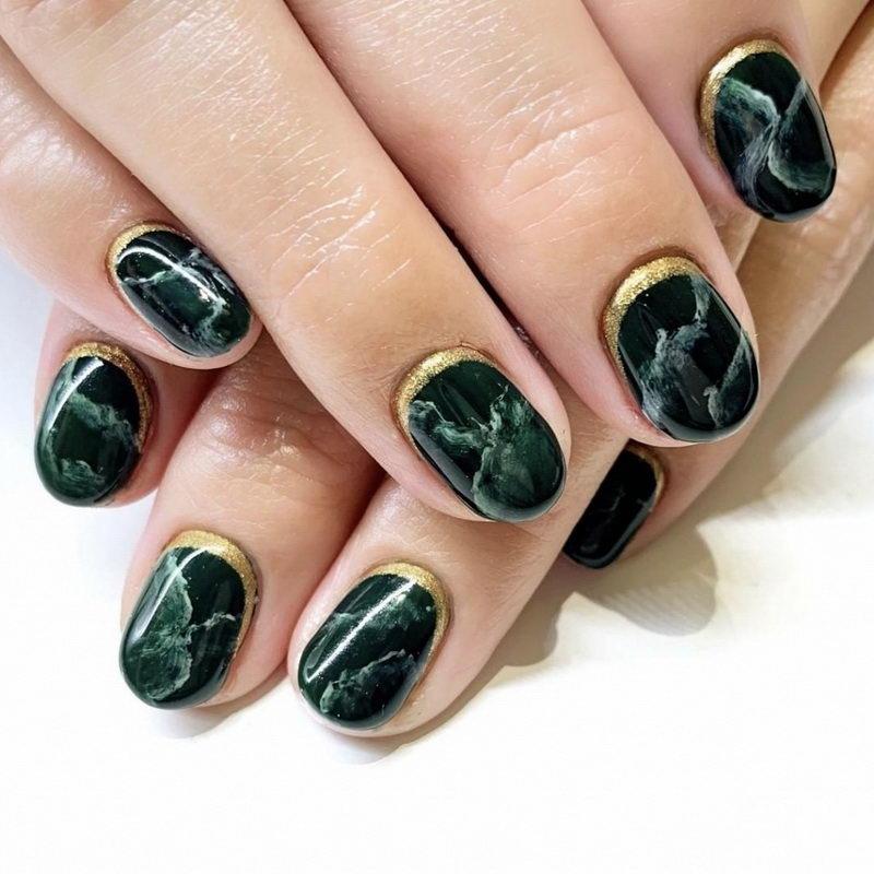 green Black Nail marble