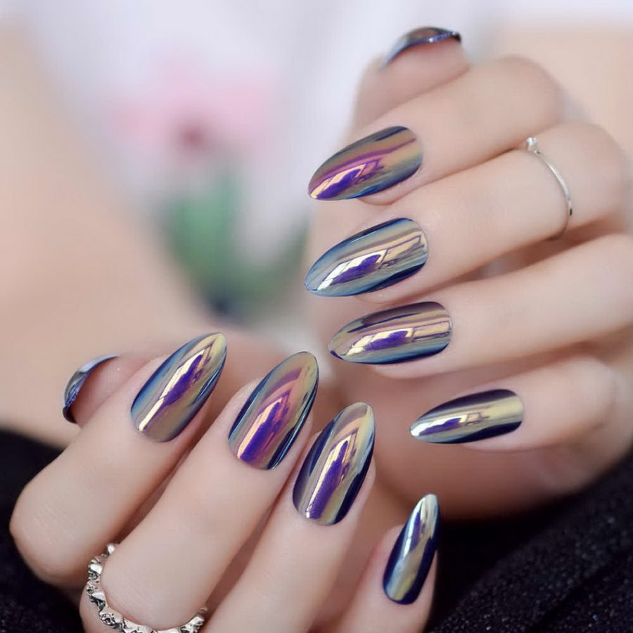 almond holographic nail