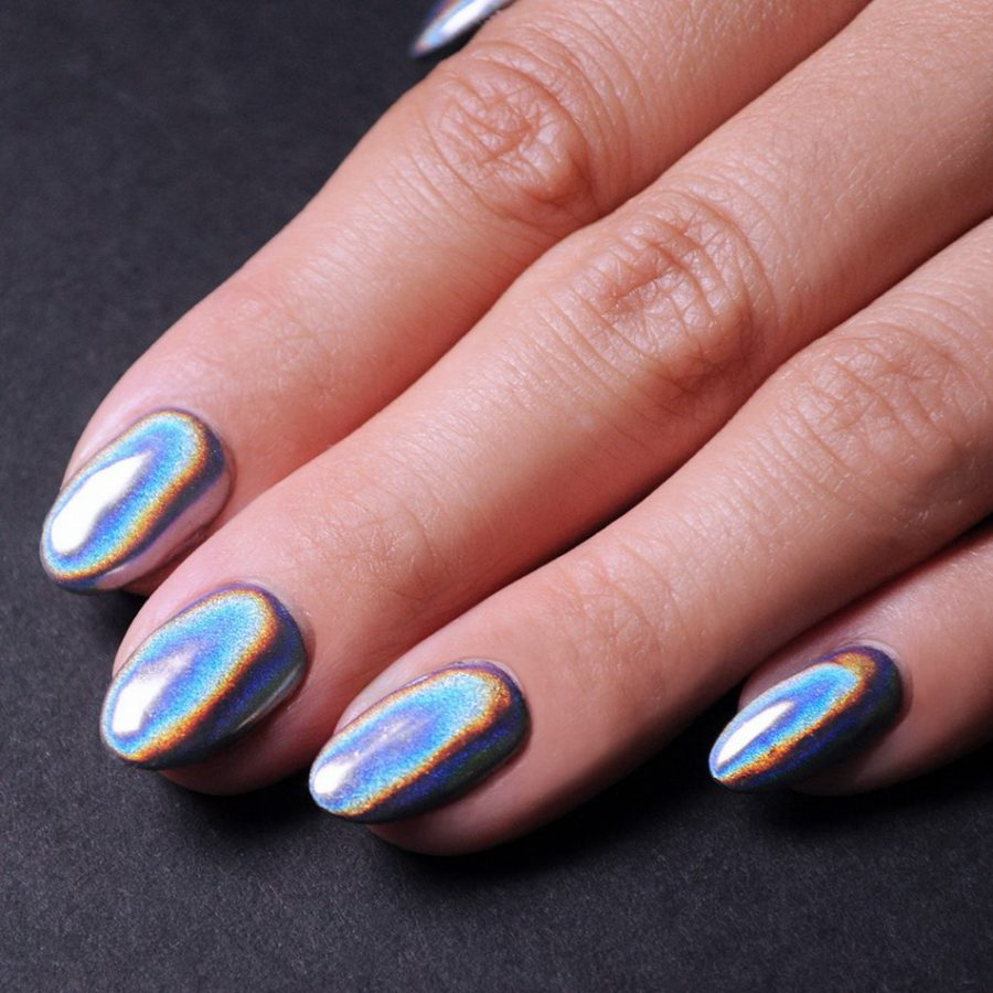 almond holographic nails