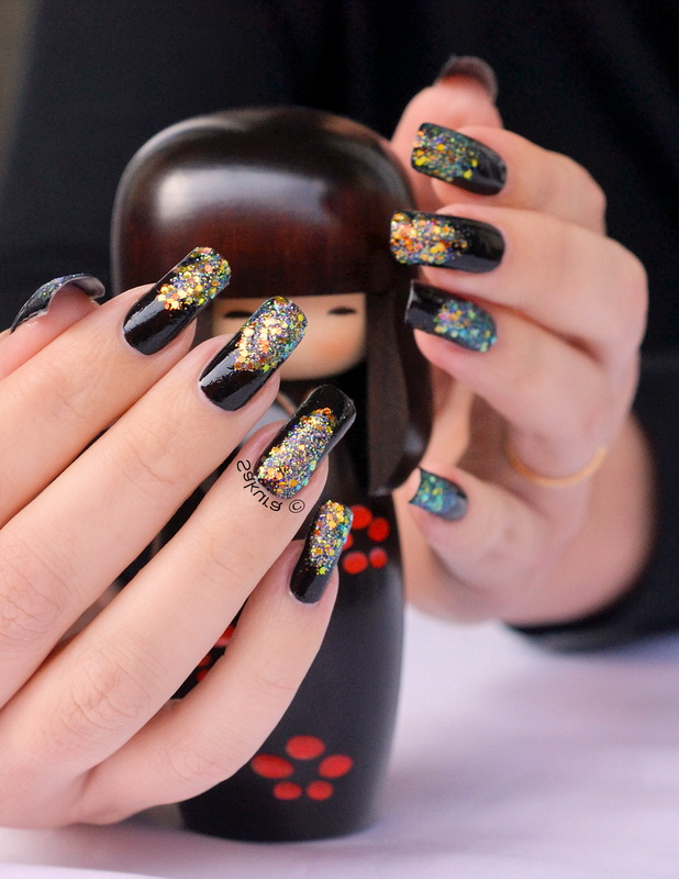 black glitter elegant nails