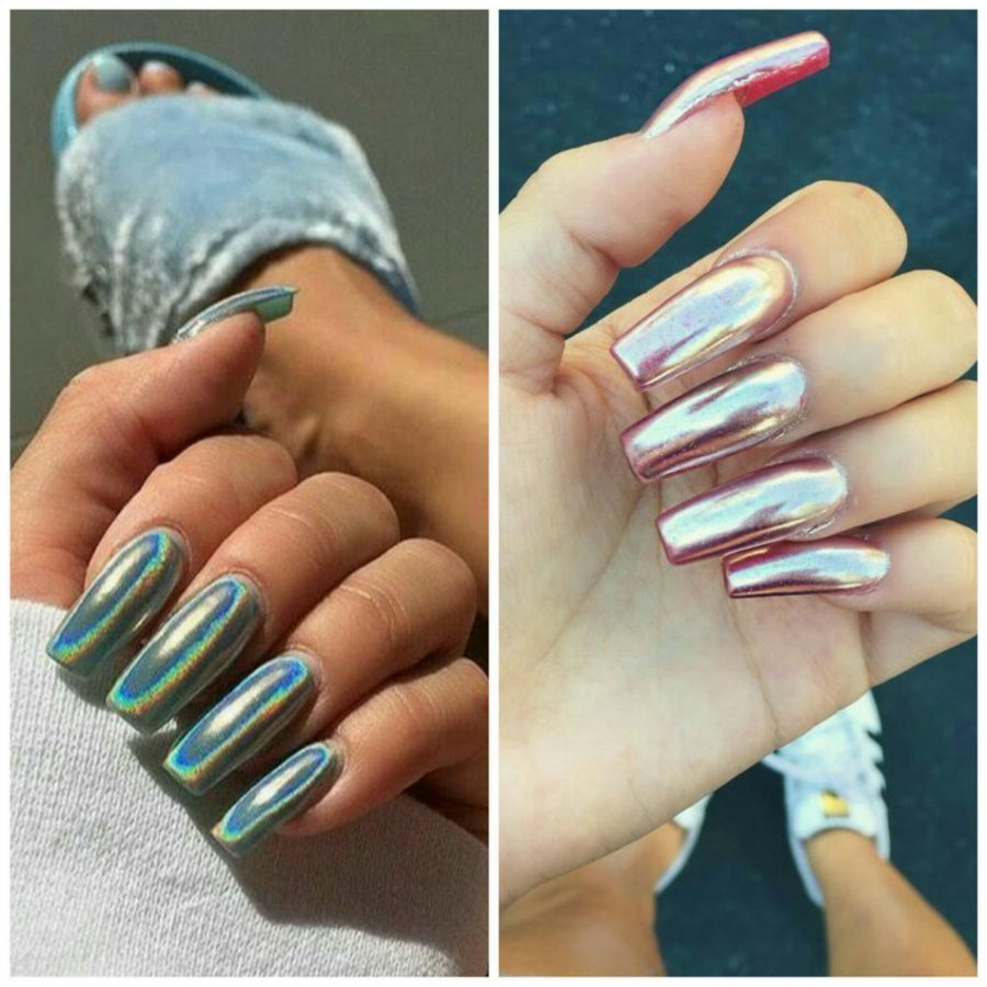 chrome and holographic nails