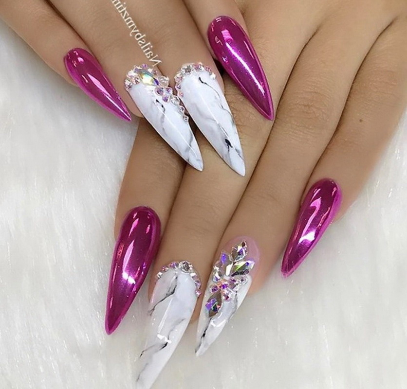 elegant chrome nails