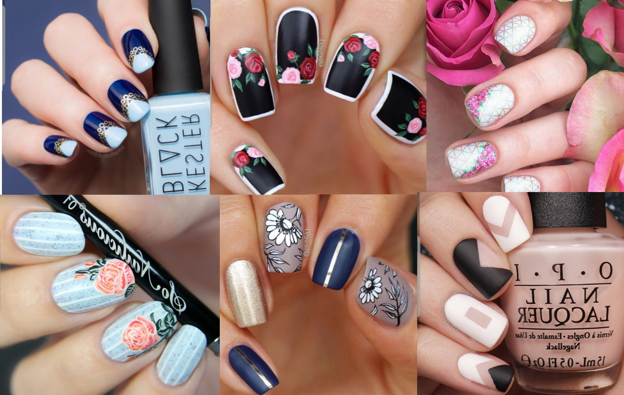 elegant flowers nails
