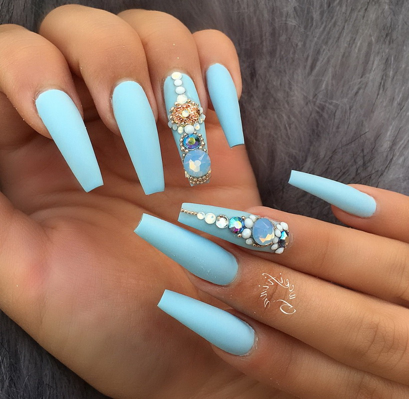elegant light blue nails