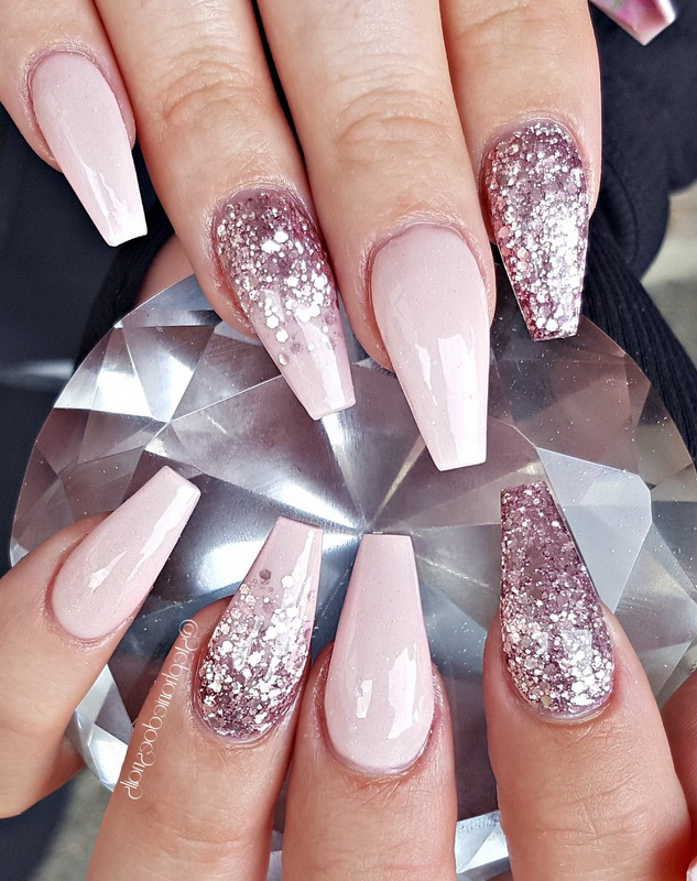 elegant pink and glitter nails