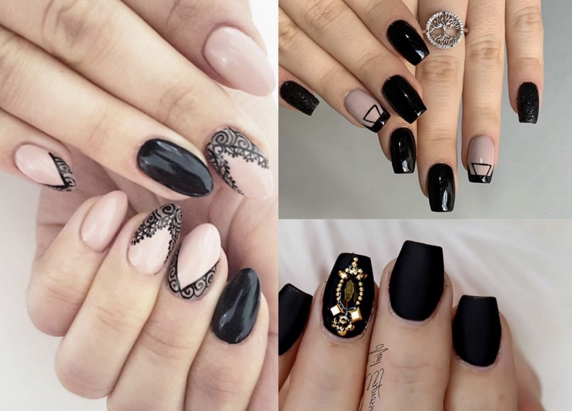 elegenat black nails