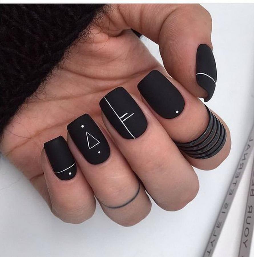 fancy black nails