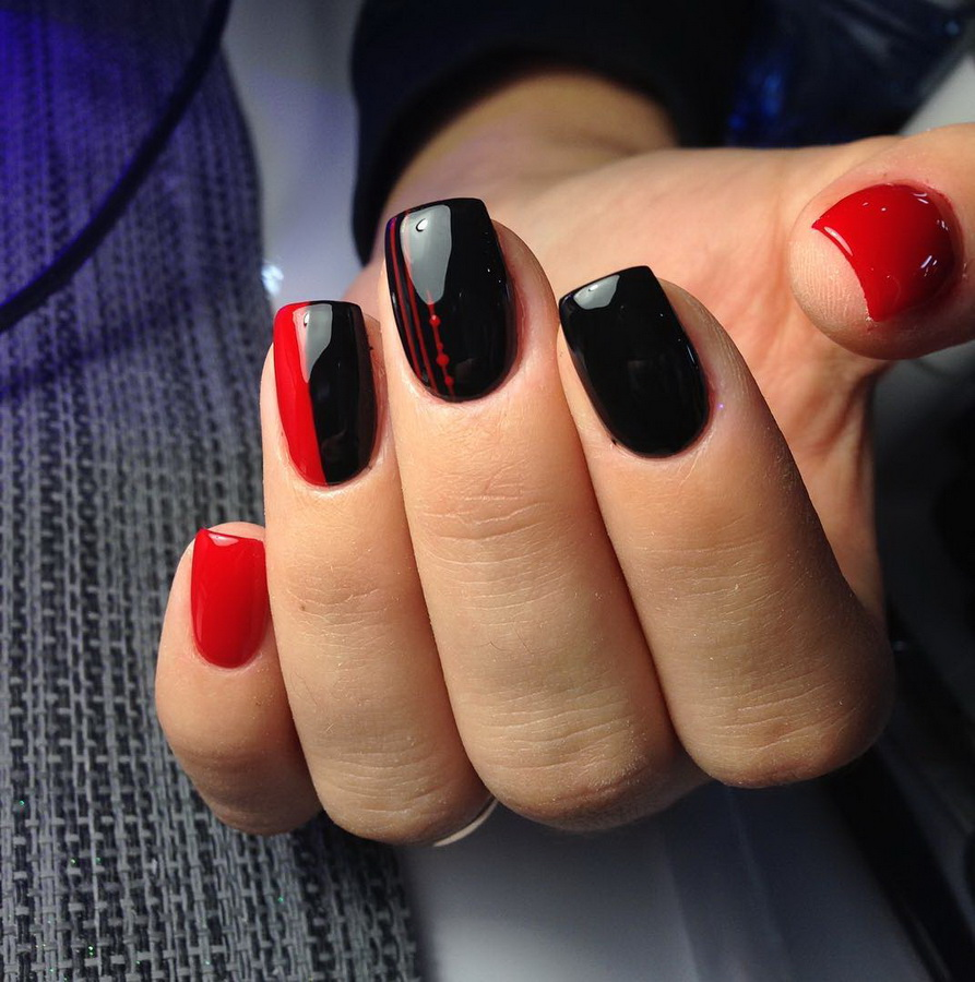fancy red and black nails