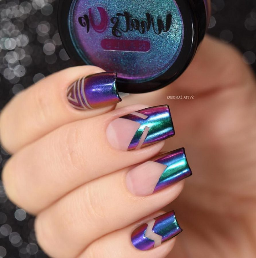 french holographic nails