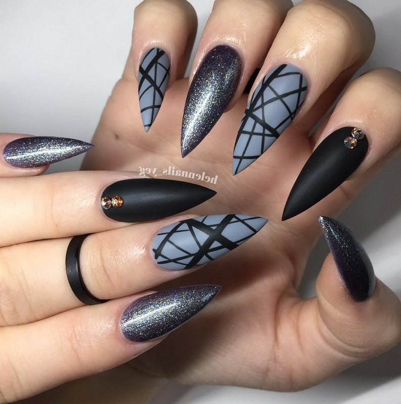 geometric elegant nails