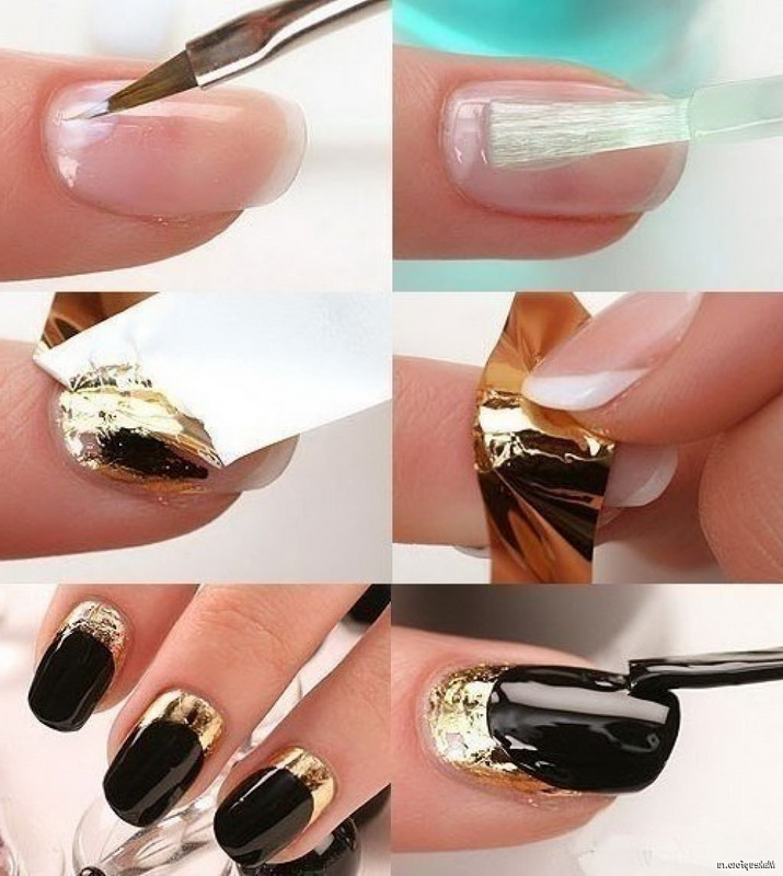 gold and black elegant nails