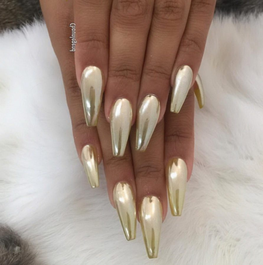gold holographic nails