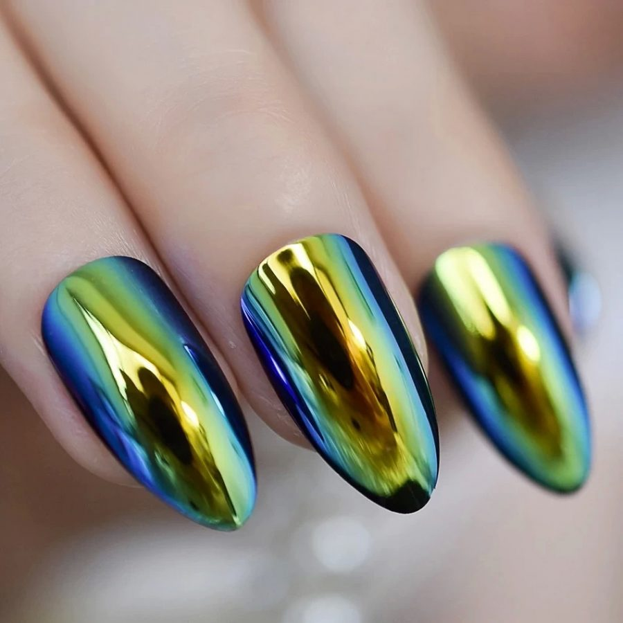 holographic chrome nails
