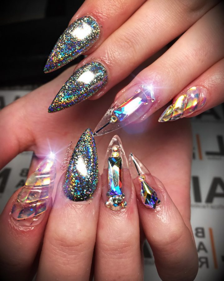 holographic diamond nails