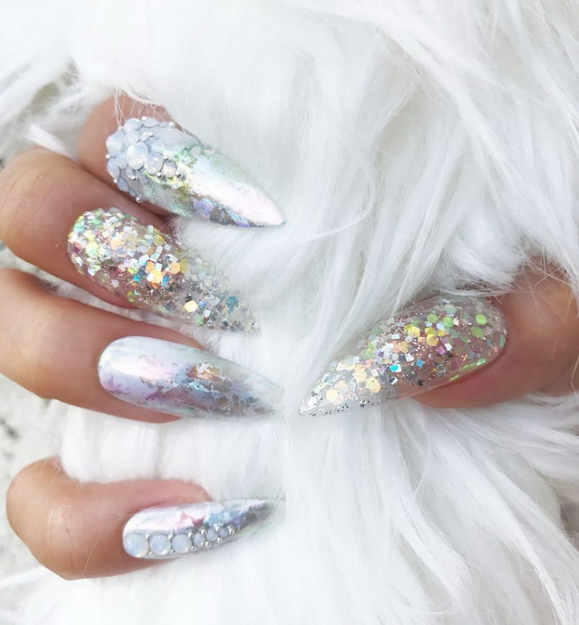holographic glitter nails