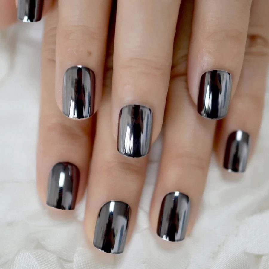 holographic nails black