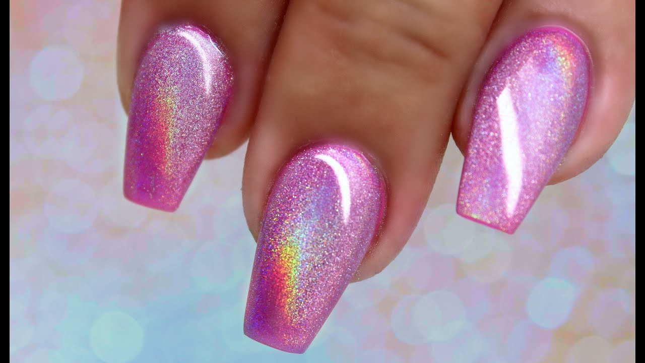holographic pink nails