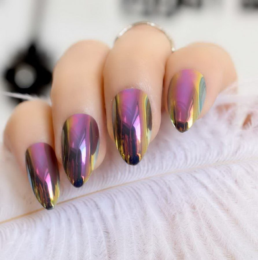 holographic purple nails