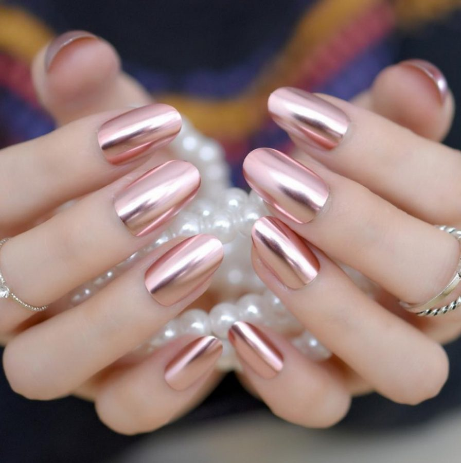 holographic rose gold nails