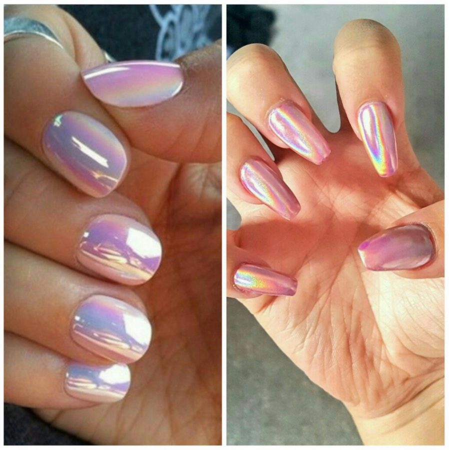nude holographic nails