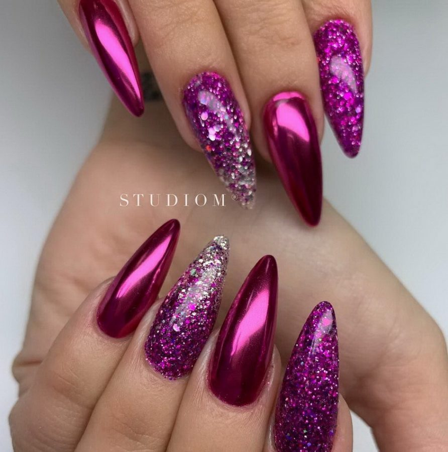 pink glitter holographic nails