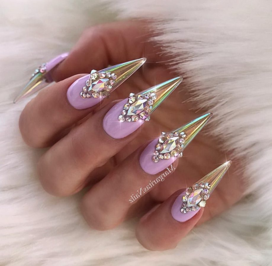 purple nails holographic tips