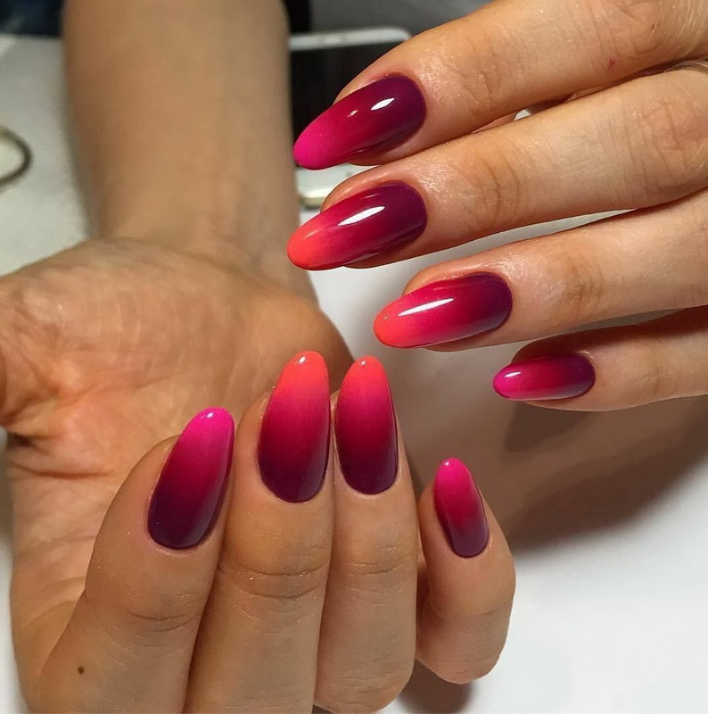 red ombre elegant nails