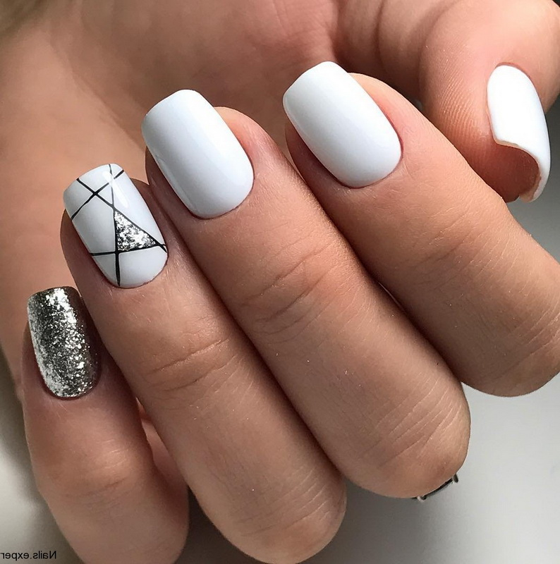 white elegant short nails