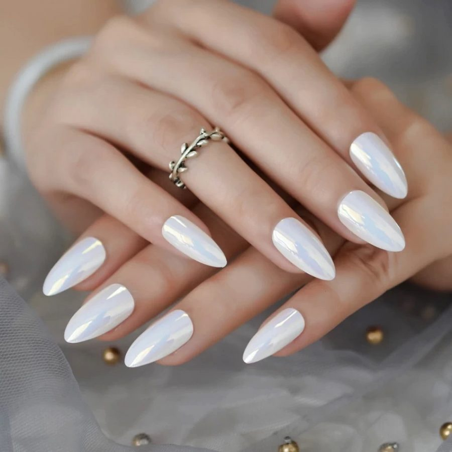 white holographic nails