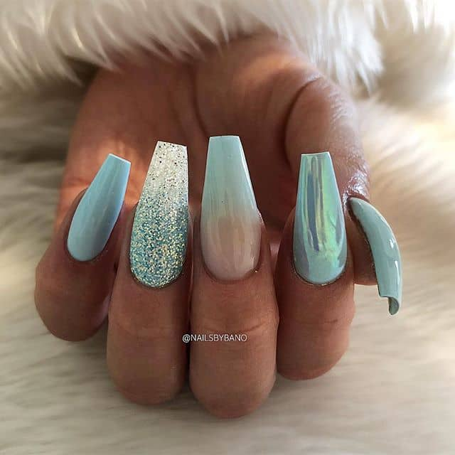 Aquamarine Coffin Nails with Sparkle Accents