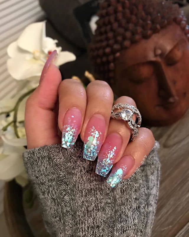 Pretty Pink Nails with Shimmering Tips
