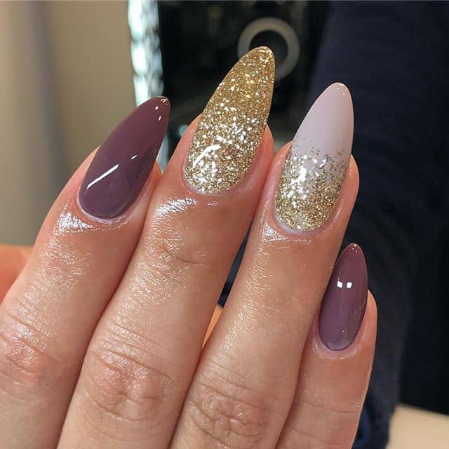 Beautiful Mauve Nails with Royal Gold Accents