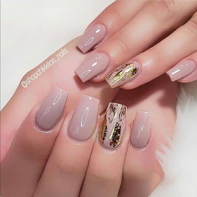 Natural Nude Nails with Gold Foil Details