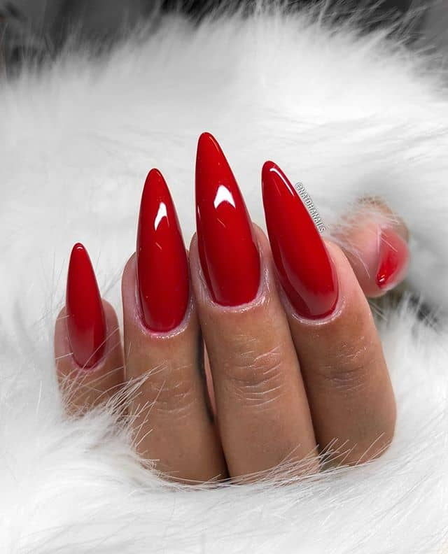 Long, Shiny Ruby Red Stiletto Nails