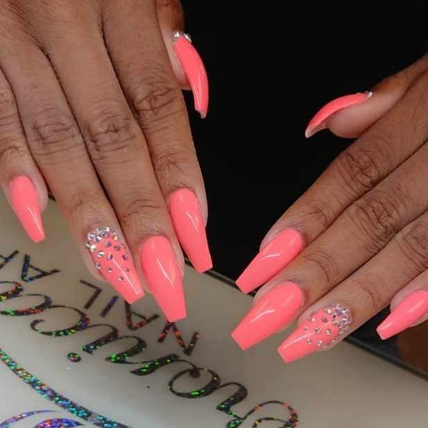Pretty Pink Coffin Nails with Gem Accents