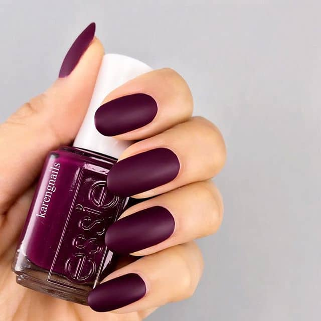 Round Nails with a Matte Plum Coloration