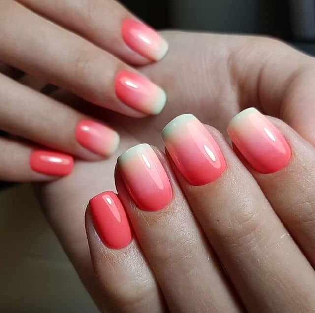 Pretty Pink Nails with Short White Tips
