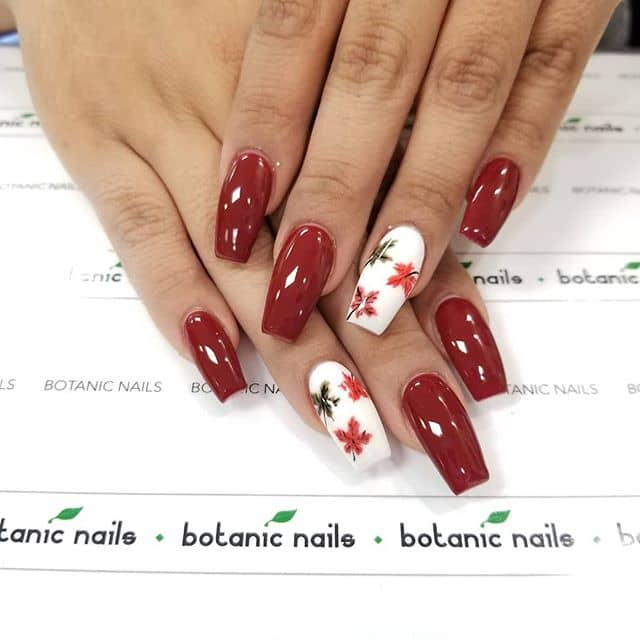 Rosy Red Nails with Fall Highlights