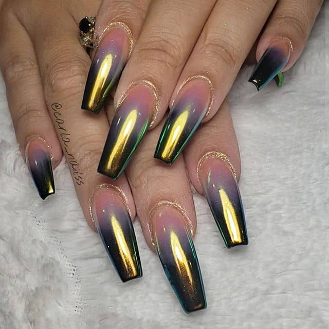 Soft Pink Nails with Metallic Tips