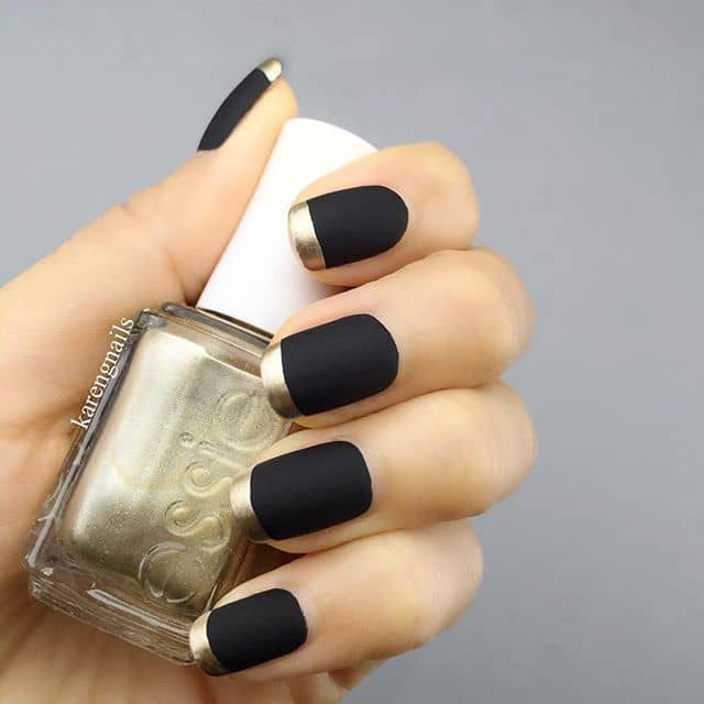 Matte Black Nails with Royal Gold Tips