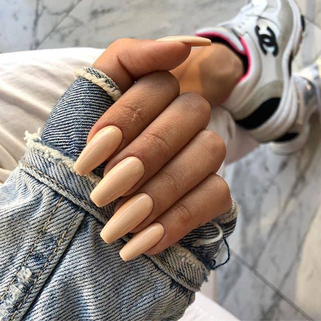 Cute Tan Nails with a Shine