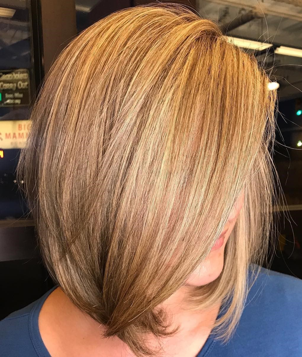 A-Line Bob Hairstyle with a Side Part