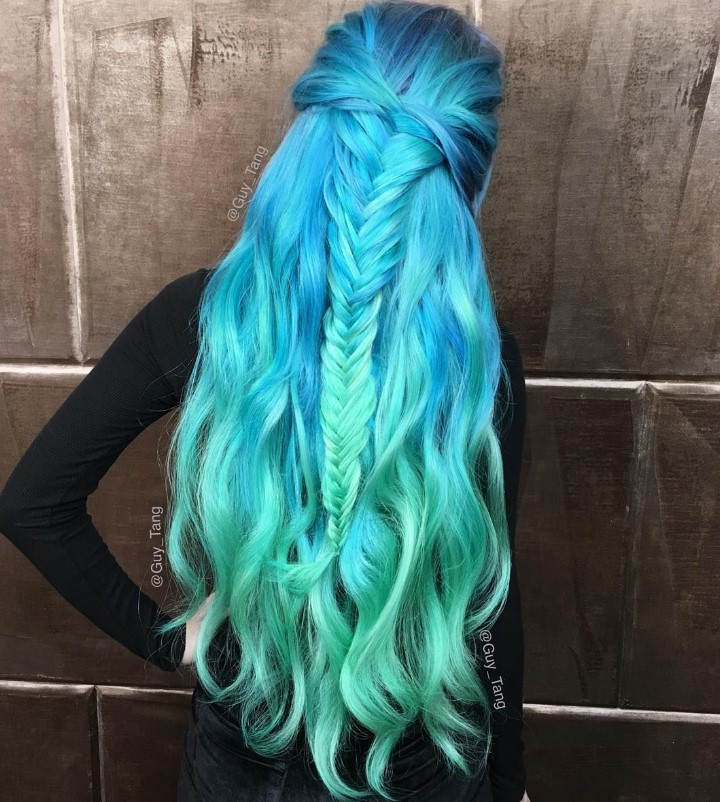 Mermaid colored hairstyle