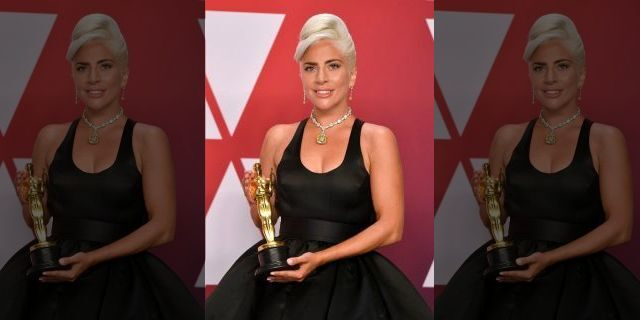 Lady Gaga, pictured in 2019, holds her Oscar for best original song for 'Shallow' from 'A Star Is Born.'