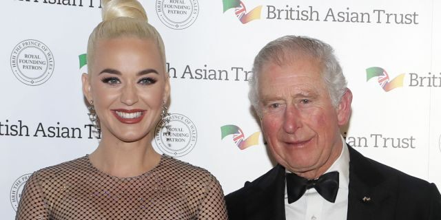 Prince Charles and Katy Perry at a reception for supporters of the British Asian Trust on February 4, 2020 in London, England. (Photo by Kirsty Wigglesworth - WPA Pool/ Getty Images)