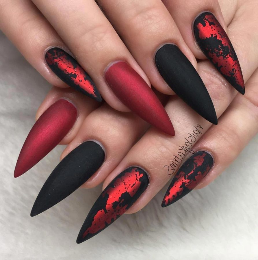 black and red long nails