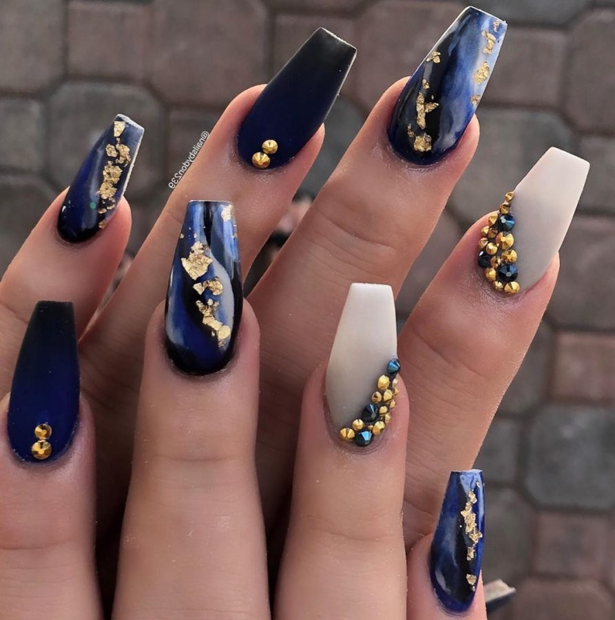 blue and white long nails