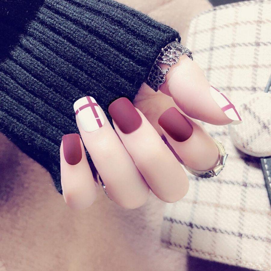 burgundy matte nails