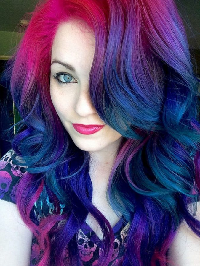 dark rainbow hair